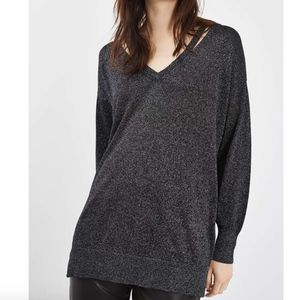 Topshop Black Longline Metallic V-neck Sweater